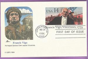 US #UX111 FDC 14¢Francis Virgo
