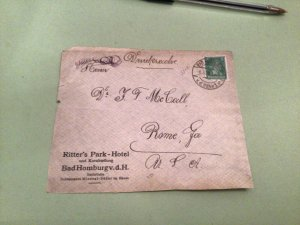 Bad Homburg Ritter's Park Hotel 1928  stamps cover  front only 50471