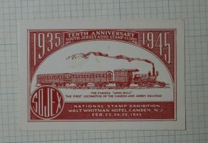 1945 SOJEX 10th Anniversary S Jersey Stamp Club Camden NJ Souvenir Label Ad
