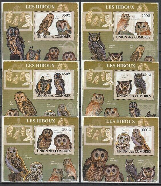 Comoros Is., 2009 issue. Owls issue as 6 Deluxe s/sheets.