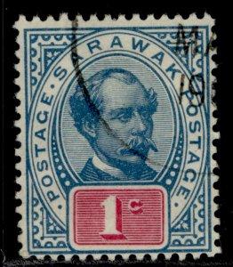 SARAWAK QV SG36, 1c grey-blue & rosine, FINE USED.