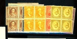 U.S. #704-15 MINT Blocks F-VF OG 1/2 NH 1/2 LH Cat $108