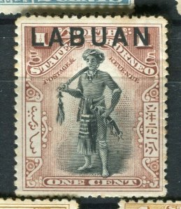 NORTH BORNEO LABUAN; 1890s classic Pictorial issue Mint hinged 1c. value