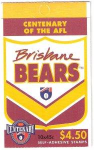 Centenary AFL 4 Stamp Booklet Brisbane Bears Australia Fitzroy CTO