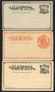 HAWAII #1-9 (10) DIFFERENT UNUSED POSTAL CARDS WITH STAIN & FLAWS CV $530 AU98