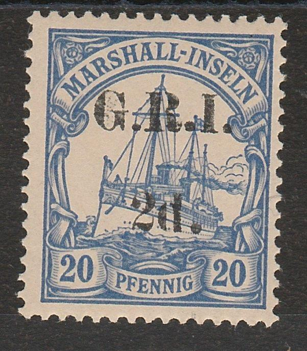 GRI MARSHALL ISLANDS 1914 YACHT 2D ON 20PF 5MM SPACING