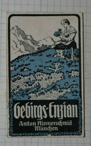 Mountian Gentian Clear Schnapps Alcohol German Brand Poster Stamps Ads
