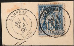 FRANCE - 1888  Obl. (pas Daguin)  CAMBRAI / NORD  sur Yv.90