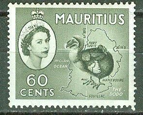 Mauritius # 261  QE II Dodo Bird & Map (1) VLH Unused