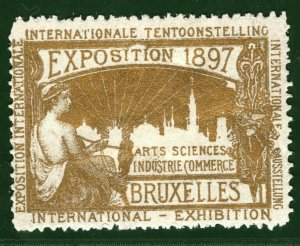 BRUSSELS EXHIBITION STAMP/LABEL Belgium 1897 *GOLD* Ink Print Mint MM B2WHITE31