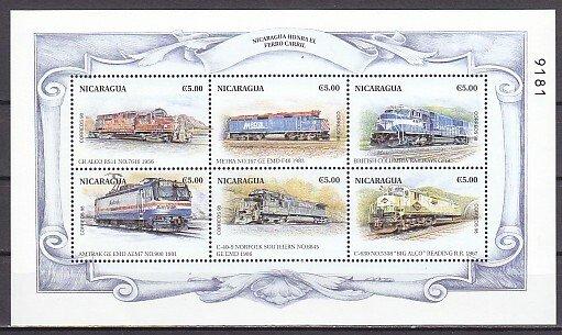 Nicaragua, Scott cat. 2285 a-f. Various Trains sheet. ^