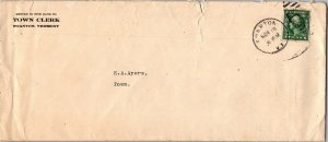 Town Clerk Swanton VT c1900 stamp cancel cover Ayers
