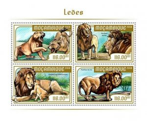 Mozambique Wild Animals Stamps 2018 MNH Lions Lion Big Cats Fauna 4v M/S