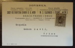 YUGOSLAVIA - ADVERTISING CARD - JUDAICA - ''JOSEF REITHOFER'' R! J22