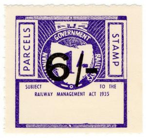 (I.B) Australia - Tasmania Railways : Parcel Stamp 6/- on 1/- OP