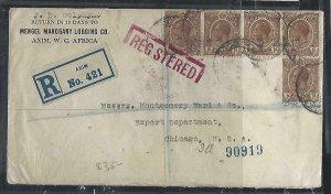GOLD COAST (P2708B)  1926  KGV 1DX5 REG  COVER AXIM TO USA