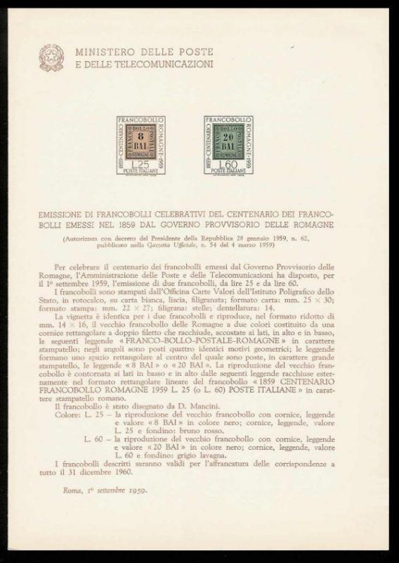 Italy 1959 Romagna Stamps Ministry of Posts Bulletin
