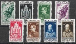 Doyle's_Stamps: VF+ MvlH 1936 Vatican City Set, Scott #47* to #54*  cv $98.10