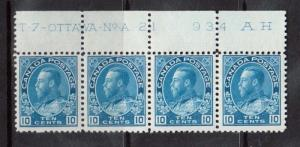 Canada #117 NH Mint Plate #21 Strip Of Four