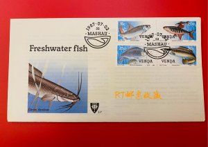 SOUTH AFRICA Venda 1987 FDC Freshwater Fish Marine Animals Fauna Nature Stamps