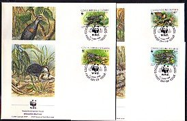 Cocos Is., Scott cat. 262 a-d. W.W.F. issue showing Birds. 4 First Day Covers. ^