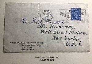 1946 London England Cover To New York USA United Nation Slogan Cancel