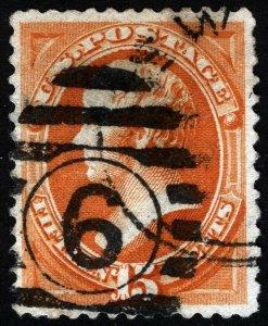 US Sc 189 Red Org 15¢ ABNCo Numeric No. 6 Duplex Cancel *Oak Lot
