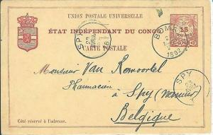 02425 - CONGO Belge  - POSTAL HISTORY - STATIONERY CARD to Belgium - 1892