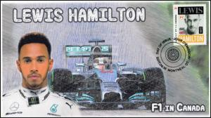 CA17-013, 2017, FDC, F1 in Canada, Lewis Hamilton, Day of Issue,