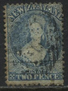 New Zealand QV Chalon Head 2d blue worn plate used