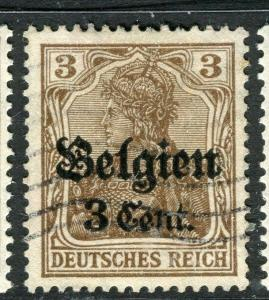 GERMANY;  BELGIUM OCC.  1916-18 early surcharged issue used 3c. value