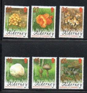 Alderney Sc 221-26 2004 Fungi stamp set mint NH