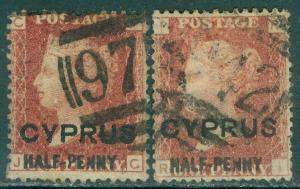 CYPRUS : 1881. SG #9. 2 VF Used stamps. Both PL 215 w/ nice cancels. Cat £140.