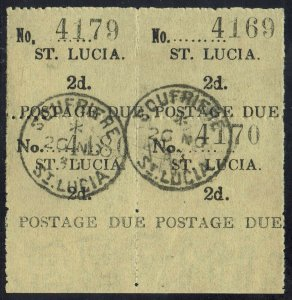 ST LUCIA 1930 POSTAGE DUE 2D BLOCK - BOTTOM 2 STAMPS WIDE NO USED