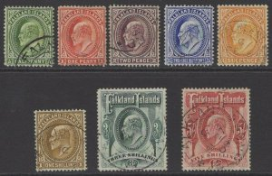 FALKLAND ISLANDS SG43/50 1904-12 DEFINITIVE SET FINE USED