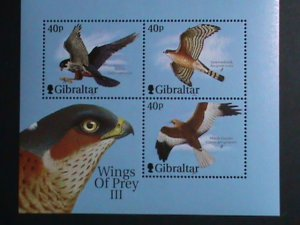 Gibraltar MNH S/S Wings Of Prey Birds