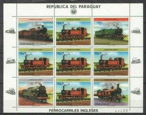 EC131 1984 PARAGUAY TRANSPORTATION STEAM TRAINS LEADERS MICHEL 30 EURO 1KB MNH