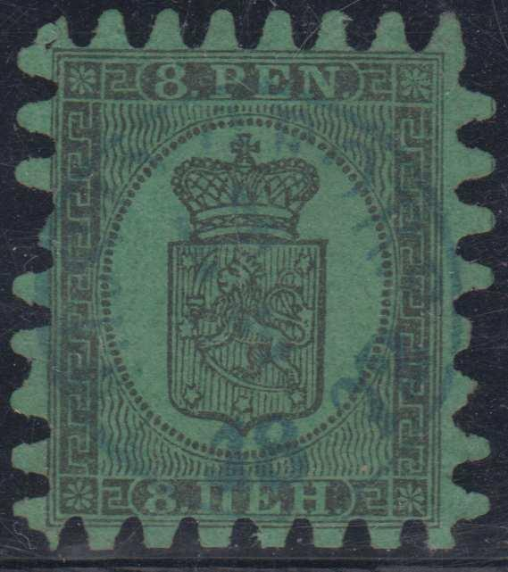 FINLAND Sc 7 USED BY CHOICE BLUE 1872 CENTRAL Cds F,VF SCV$200.00+