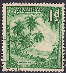 Naura 1954 QE2 1d Bluish Green Anibare Bay used SG 49 ( A768 )