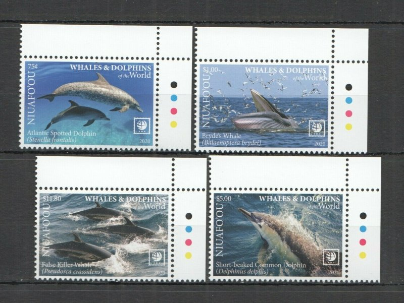 R0182 2020 NIUAFO'OU WHALES & DOLPHINS OF THE WORLD MARINE LIFE FAUNA SET MNH