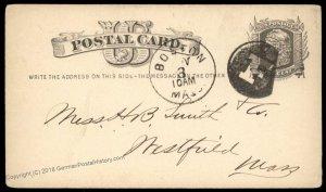 USA 1800s Boston Mass Negative Letter F Fancy Cancel Cover 95028