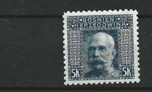 BOSNIA  & HERZEGOVINA 1906  5KR  GREY BLUE    PERF  9 1/2   MNH  NO3