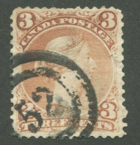 CANADA #25 USED LARGE QUEEN 2-RING NUMERAL CANCEL 52