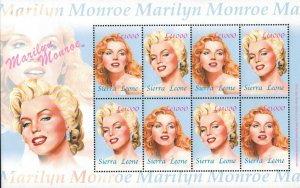 Sierra Leone MNH S/S Marilyn Monroe 8 Stamps