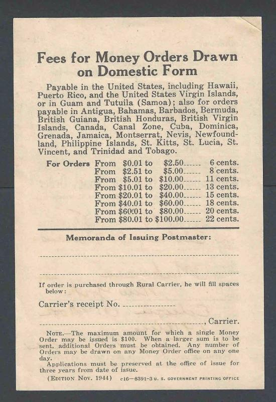 1944 U S Post Office Dept Official Business Card Form #8391