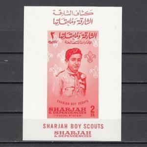 Sharjah, Scott cat. 68a. Boy Scouts s/sheet. *