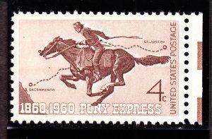 US 1154 4c Pony Express w/PSE Cert 95 XF-S OG NH SMQ $25