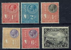 MALTA 1926 KGV PICTORIAL RANGE TO 1/- INSCRIBED POSTAGE