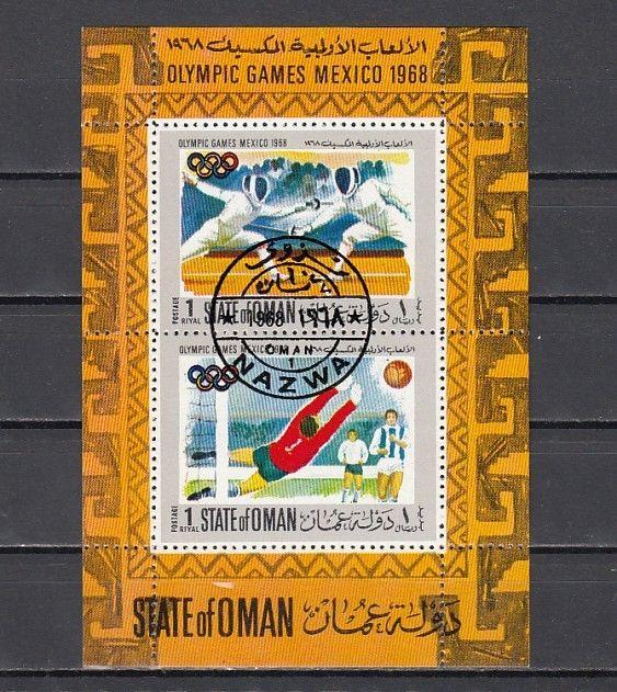 Oman State, 1968 issue. Olympics s/sheet. Fencing & Soccer. canceled, C.T.O.