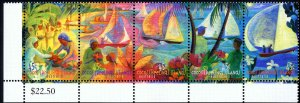 Cocos Islands #330, Complete Set Strip of 5, 1999, Never Hinged